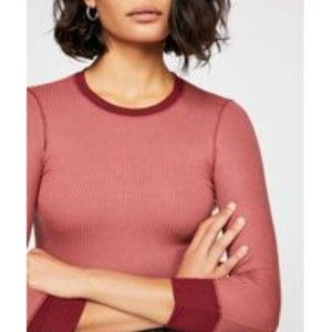 NWT Free People Red Ribbed ¾ Sleeve Women's  Top